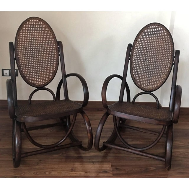 Thonet Midcentury Elegant Rattan Pair of Rocking Chairs in the Thonet Style For Sale - Image 4 of 10