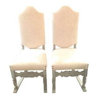 Late 19th Century Antique French Gray Blue Painted Chairs- a Pair For Sale