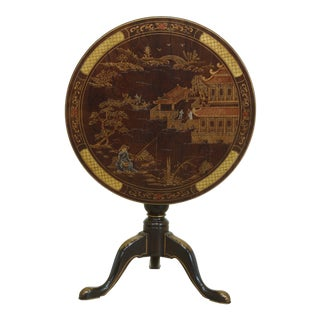 Henredon Chinoiserie Decorated Round Tilt Top Table For Sale