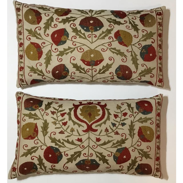 Hand Embroidery Suzani Pillows - A Pair - Image 2 of 11