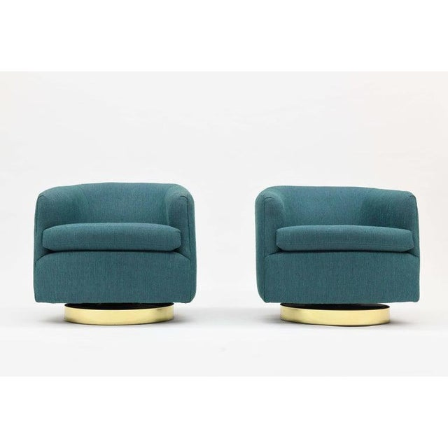1980s 1980s Vintage Thayer Coggin Swivel Tilt Barrel Lounge Chairs by Milo Baughman- A Pair For Sale - Image 5 of 11
