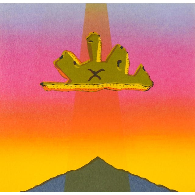 Mid-Century Modern Surreal Abstract PInk & Yellow Sunset Serigraph For Sale - Image 3 of 3