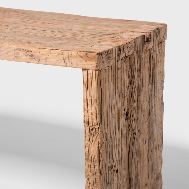 Blonde Provincial Reclaimed Elm Waterfall Console Table For Sale In Chicago - Image 6 of 7