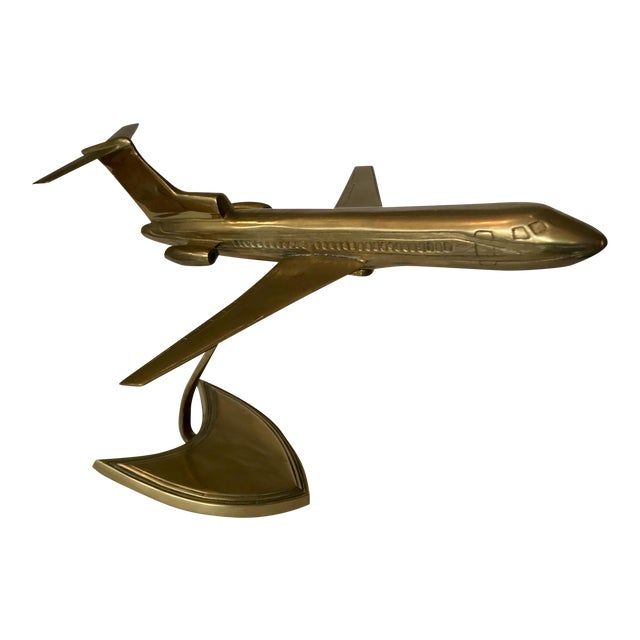 Brass Boeing Airplane Display Model For Sale