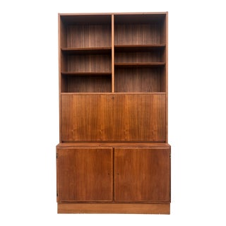 Danish Modern Drop Front Desk and Shelving Unit For Sale