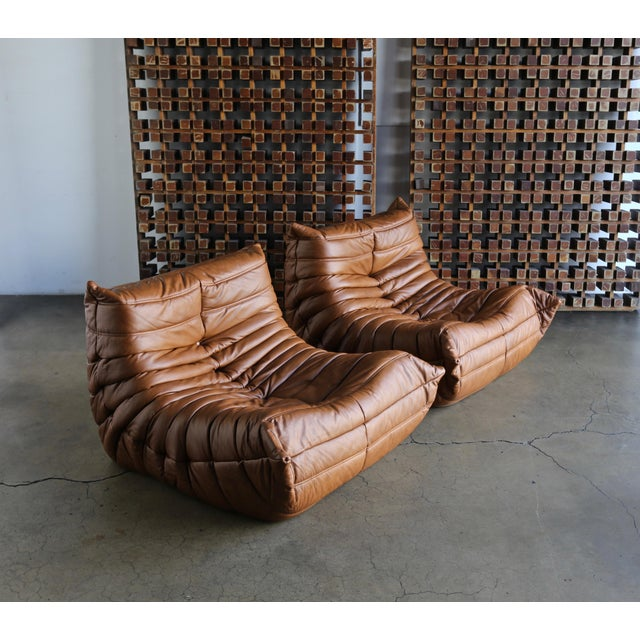 """Michel Ducaroy for Ligne Roset """"Togo"""" Leather Lounge Chairs - a Pair For Sale - Image 13 of 13"""