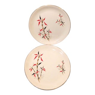 Vintage Staffordshire English Ironstone Red Bamboo Plates - a Pair For Sale