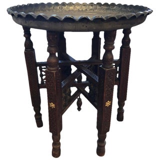 1960s Moroccan Tray Table With Bone Inlay For Sale