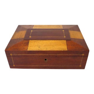 Antique American Victorian Assorted Woods Sewing Box For Sale