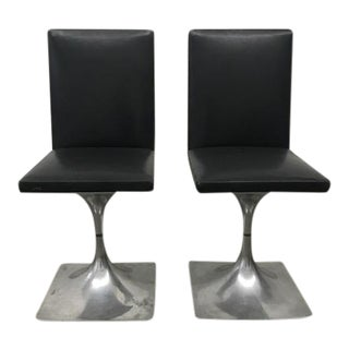 Roger Tallon Module 400 Series Leather and Aluminum Chairs - a Pair For Sale