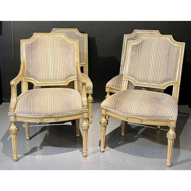 Set of Eight Louis XVI Style Dining Chairs Painted and Parcel-Gilt, Jansen Style For Sale In New York - Image 6 of 13