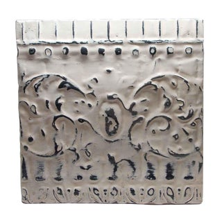 Antique White Tin Panel With Decorative Design For Sale