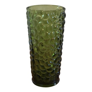 Green Pressed Glass Vase in Grape Harvest Motif