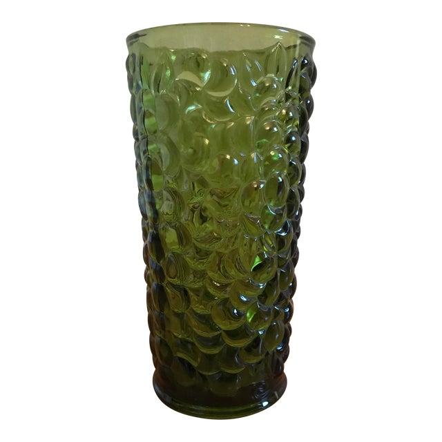Green Pressed Glass Vase In Grape Harvest Motif Chairish