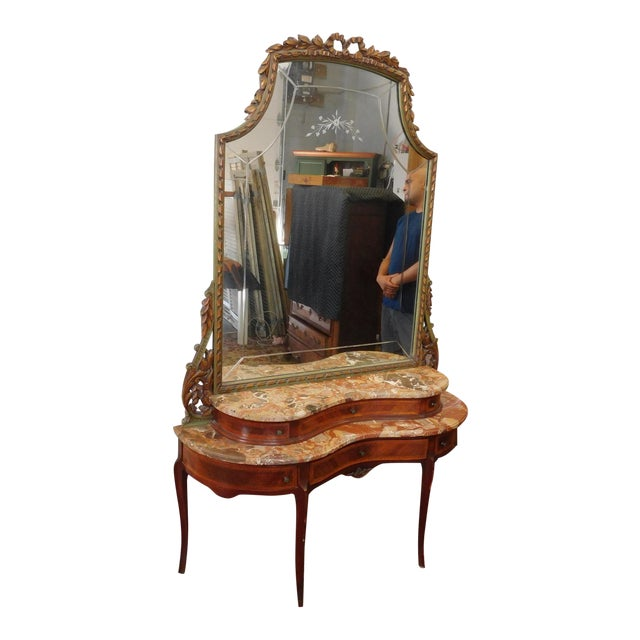 Fine 1920s French inlaid & Banded Mahogany Marble Top Bedroom Dressing Table Vanity w/ Mirror - Image 1 of 11