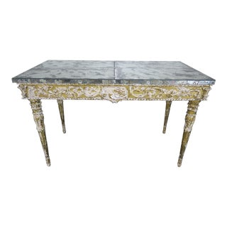 19th Century Italian Neoclassical Style Giltwood Console With Mirrored Top For Sale