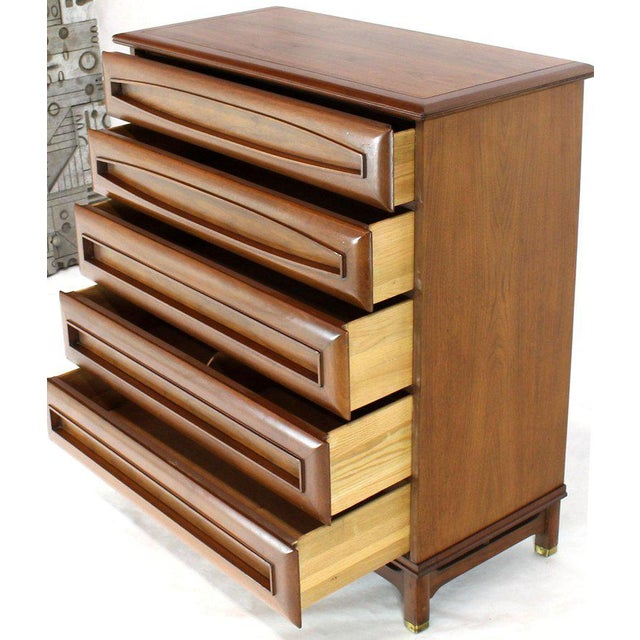 Mid-Century Modern Sculptural Thick Carved Solid Walnut Panels Design 5-Drawer High Chest Dresser For Sale - Image 3 of 13