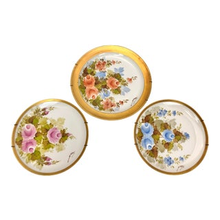 Hand Painted Mismatched Fine China Plates - Set of 3 For Sale