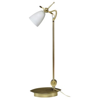 Late 20th Century Brass Table or Desk Lamp with Milk Glass Shade For Sale
