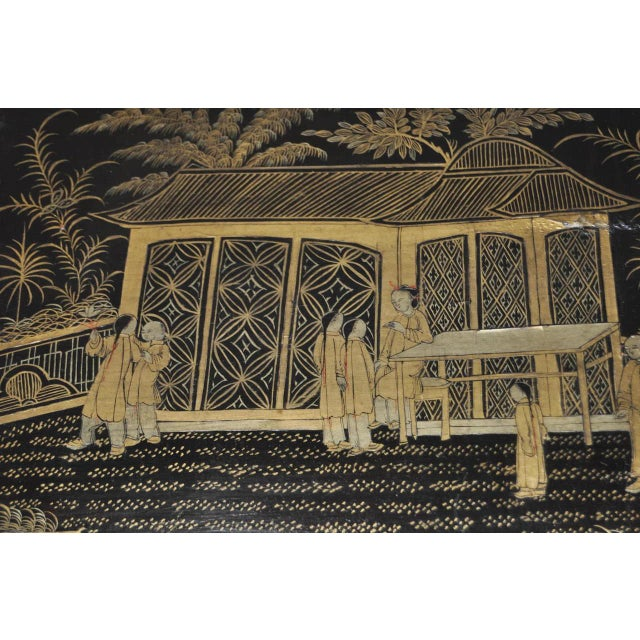 Gold 19th Century Chinoiserie Black Lacquered & Gold Nesting Tables - Set of 4 For Sale - Image 8 of 10