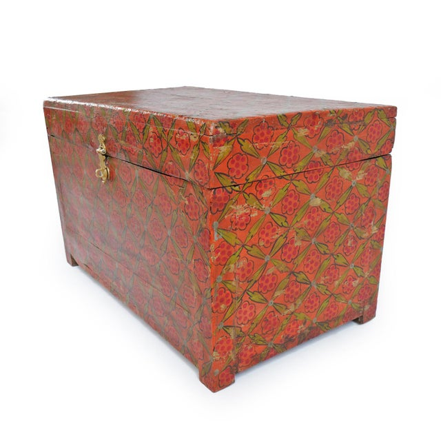 Vintage painted teak wood dowry trunk from North India. Beautiful patina with hand wax finish and extra side storage box...
