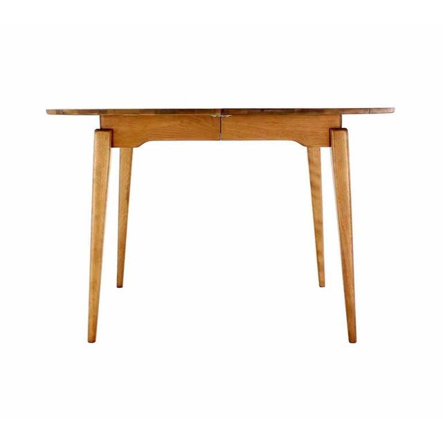 Round Birch Dining Table with Three Leaves For Sale In New York - Image 6 of 6