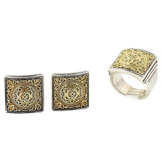 Konstantino Gold Silver Ring & Earrings For Sale