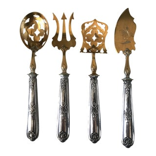 Antique French Repoussé Sterling Silver and Gold Vermeil Hors d'Oeuvres Set - 4 Pieces For Sale