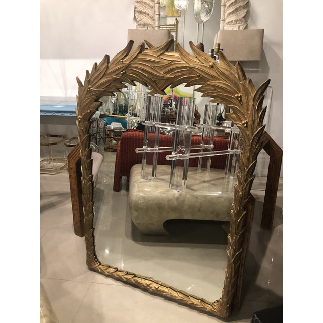 Vintage Gold Lacquered Palm Frond Wall Mirror For Sale - Image 9 of 12
