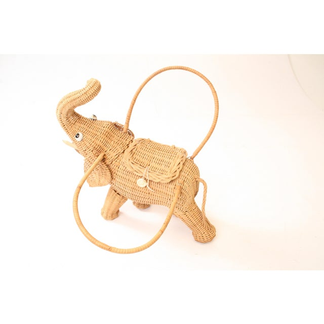 Vintage Wicker Figural Elephant Purse - Image 6 of 11