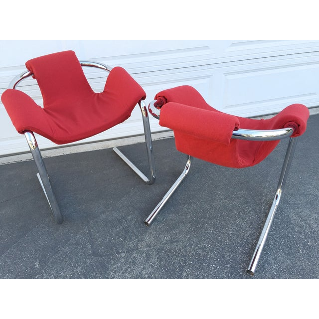 Italian Vecta Vintage Zermatt Chrome Sling Chairs - A Pair For Sale - Image 3 of 7