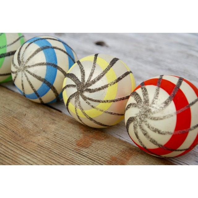 Striped West German Christmas Ornaments - Set of 5 For Sale - Image 9 of 11