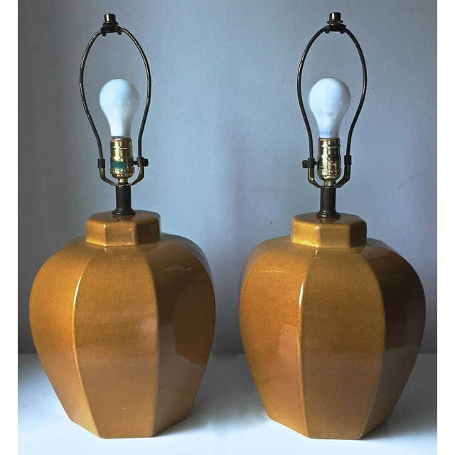 2 Mid Century Chinoiserie Ceramic Lamps - Image 4 of 4