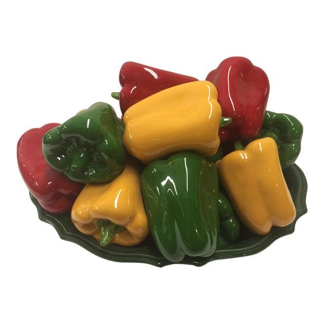 Italian Bell Pepper Ceramic Sculpture For Sale