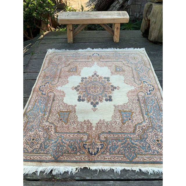 """Islamic 1970s Vintage Ivory Persian Tabriz Rug - 5' x 5'5"""" For Sale - Image 3 of 13"""