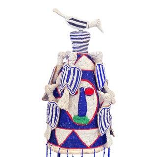 "African Yoruba Beaded King Crown 18"" H Nigeria For Sale"