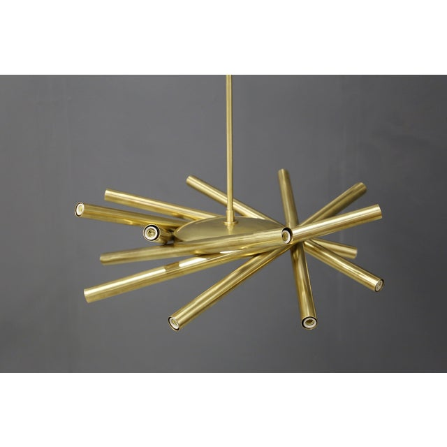 Metal Chandelier in Style Mid Century in Brass With Spokes, 2020s For Sale - Image 7 of 9