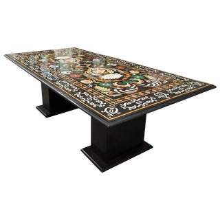 Italian Pietra Dura Marble Table and Plinths For Sale