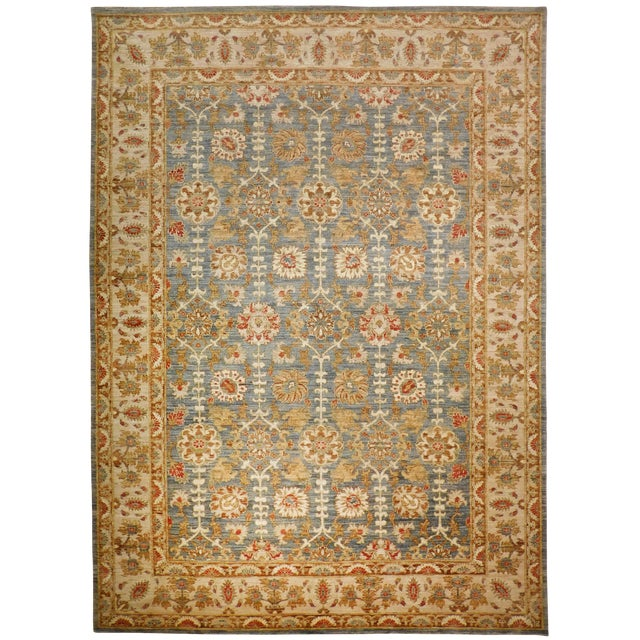 Hand Knotted Green and Yellow Afghan Rug - 6'x 9' For Sale