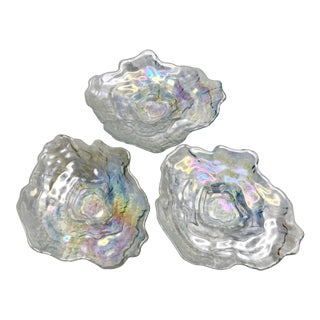 Antique Carnival Glass Oyster Dishes - Set of 3 For Sale