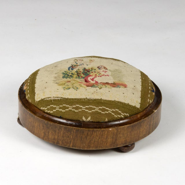 French Near Pair of Charming Round Upholstered Walnut Foot Stools, French Circa 1800 For Sale - Image 3 of 9