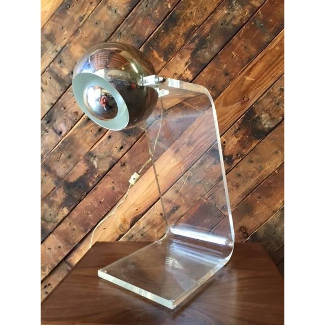 1970's Vintage Chrome and Lucite Table Lamp - Image 2 of 5
