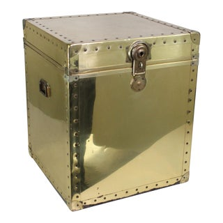 Mid-Century Hollywood Regency Riveted Brass Chest For Sale