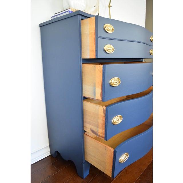 Bassett Serpentine Flat Navy-Blue and Gold Highboy Dresser - Image 11 of 11