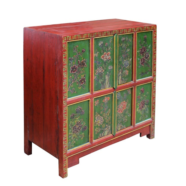 Asian Chinese Red Green Floral Graphic Credenza Storage Cabinet For Sale - Image 3 of 9