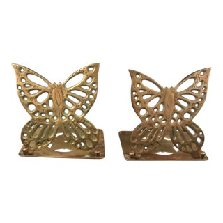 Vintage Brass Butterfly Bookends - a Pair For Sale