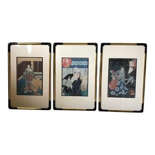 Antique Framed Japanese Hand-Blocked Prints - Set of 3 For Sale