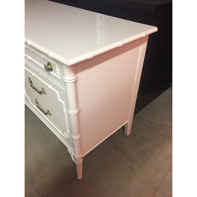 Thomasville White Lacquered Faux Bamboo Allegro Dresser For Sale - Image 5 of 11