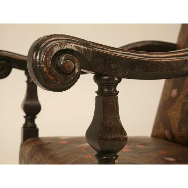 Antique Embossed Painted & Gilded Leather Chair For Sale - Image 9 of 11