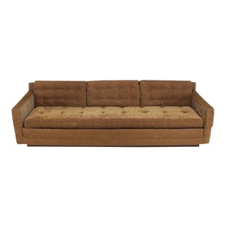 Vintage Mid Century Mocha Velvet Platform Base Sofa For Sale